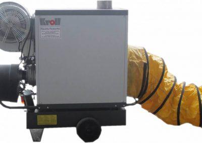 Öl-Warmluftheizgerät, 50 KW Heizleistung, 2.600 m³/h, Verbrauch: Heizöl/Diesel 4,3 kg/h, Anschlusswert: 230 V, 0,7 kW, Tankinhalt: 46 Liter