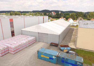 Lagerzelthalle, 20 m x 45 m, 5,40 m Traufhöhe, Schneelast 75 kg/m²