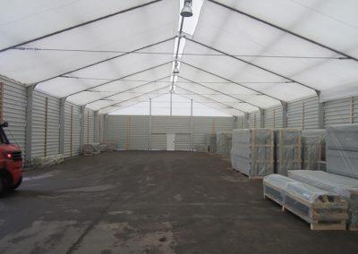 Lagerzelt mit Unterdachplane, 16 m x 75 m, Schneelast 0,75 kN/m²