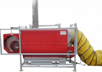Öl-Warmluftheizgerät, 160 KW Heizleistung, 9.800 m³/h, Verbrauch: Heizöl/Diesel 12,5 kg/h, Anschlusswert: 400 V, 3,8 KW